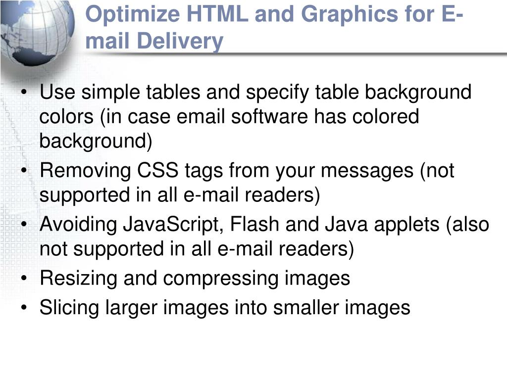 Optimize HTML and Graphics for E-mail Delivery
