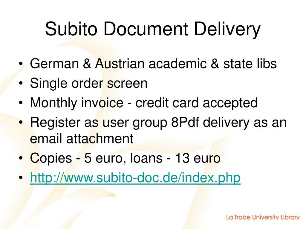 Subito Document Delivery