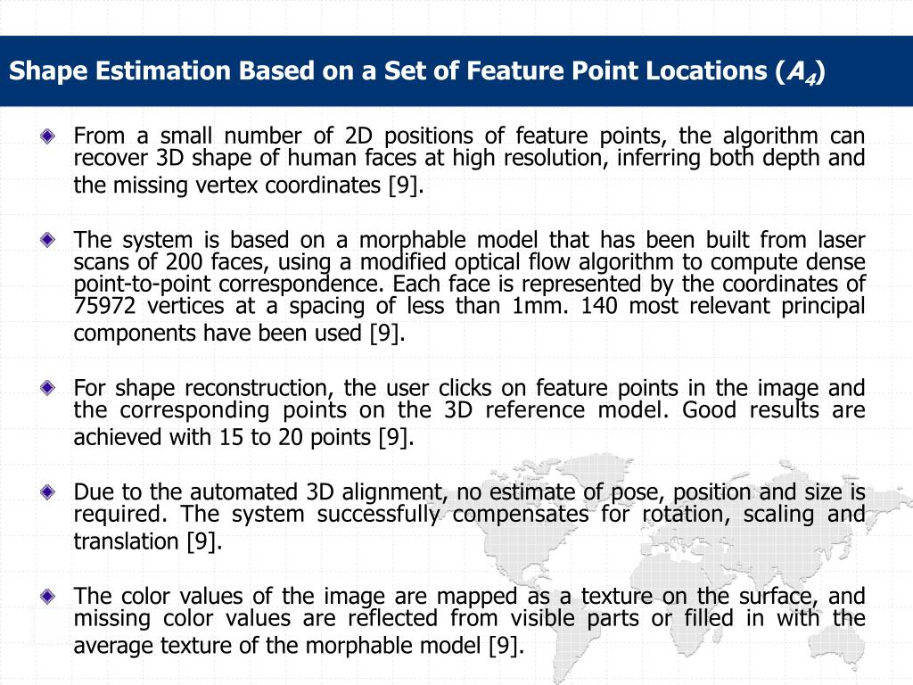 Shape Estimation Based on a Set of Feature Point Locations (