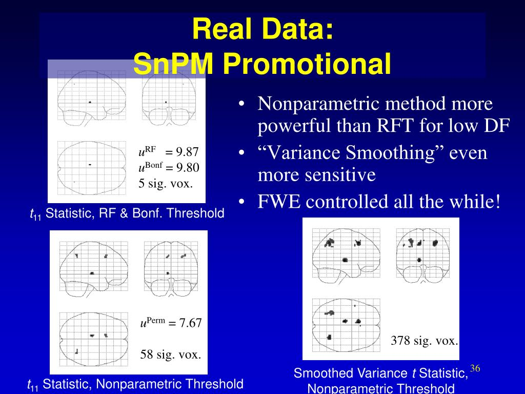 Nonparametric method more powerful than RFT for low DF