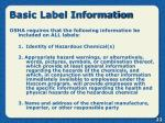 basic label information