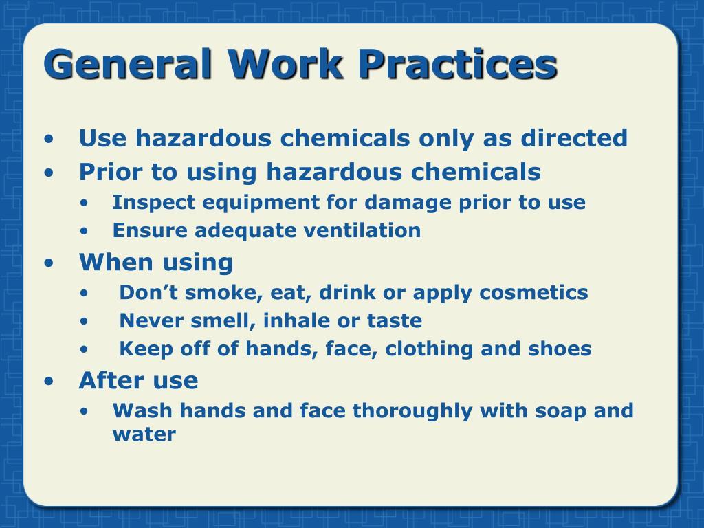 General Work Practices