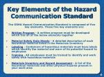 key elements of the hazard communication standard