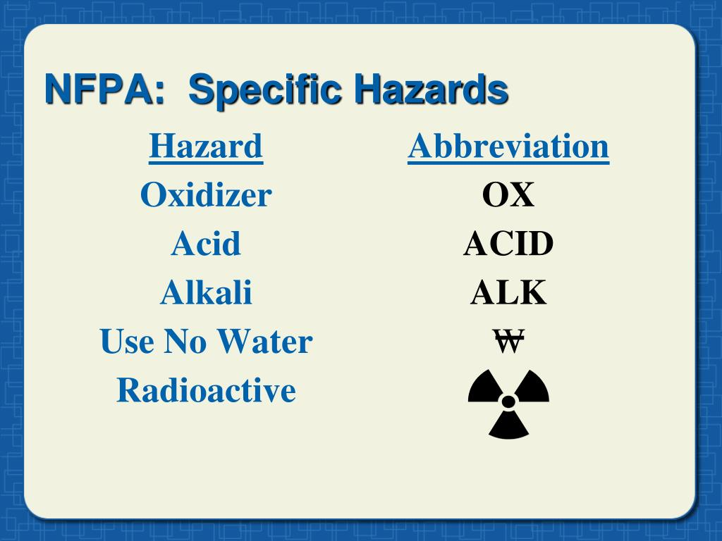 NFPA:  Specific Hazards