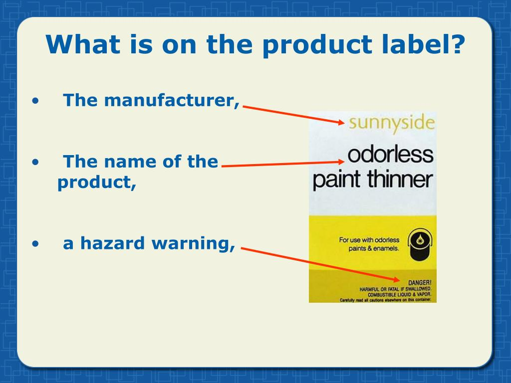 What is on the product label?