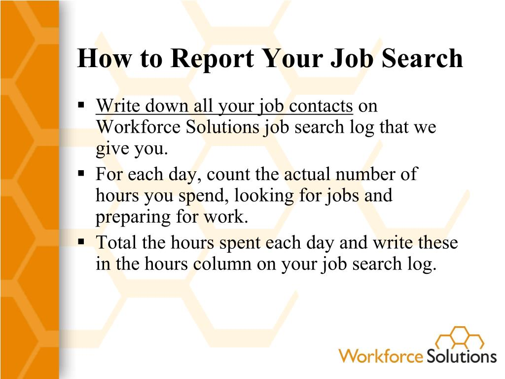How to Report Your Job Search