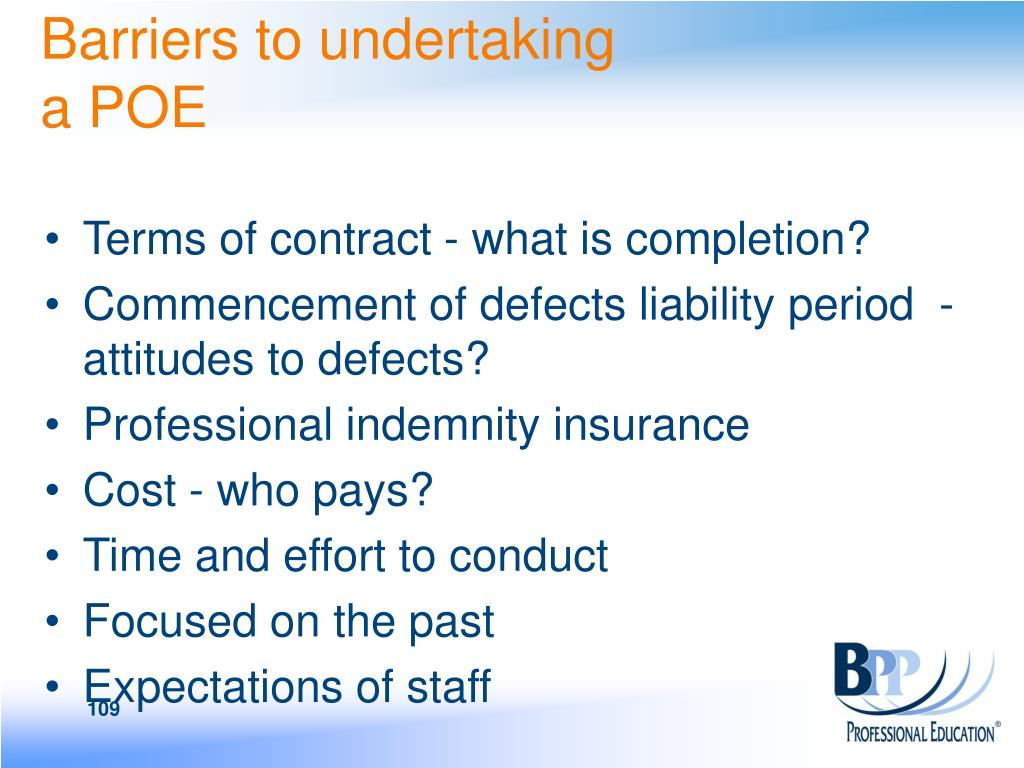 Barriers to undertaking a POE