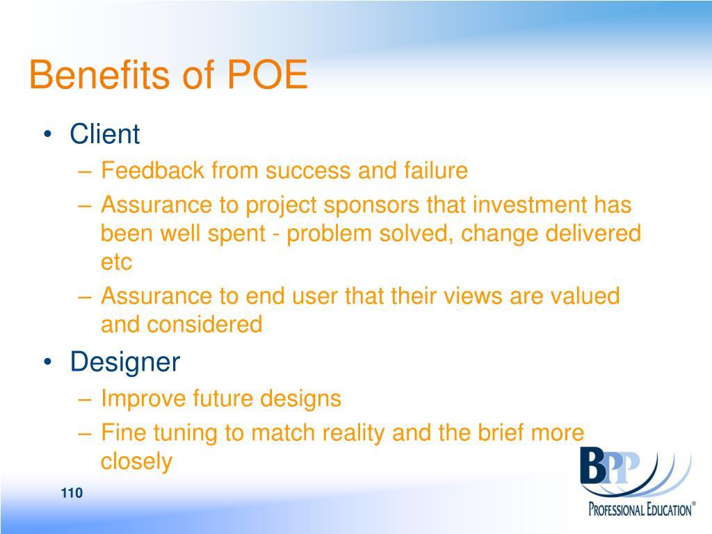 Benefits of POE