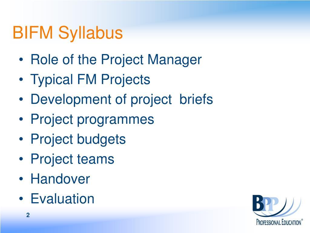 BIFM Syllabus
