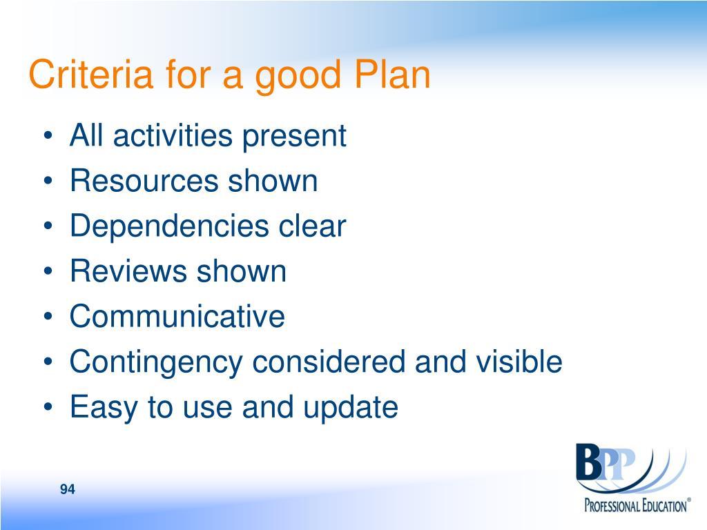 Criteria for a good Plan