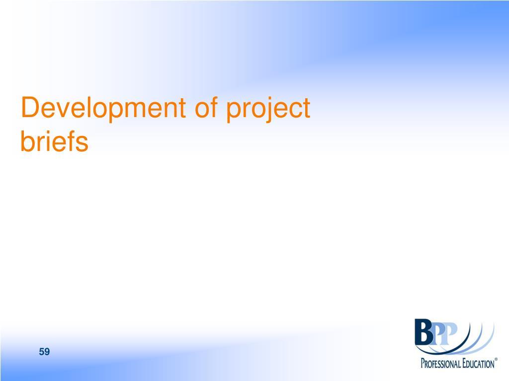 Development of project  briefs