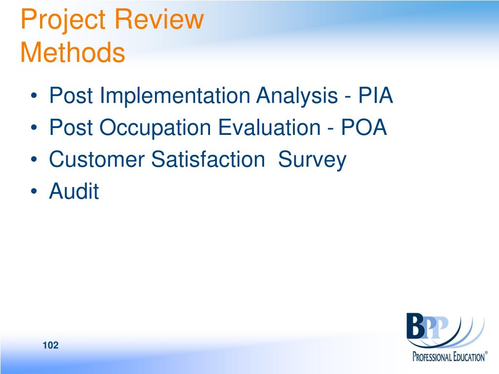 Project Review Methods