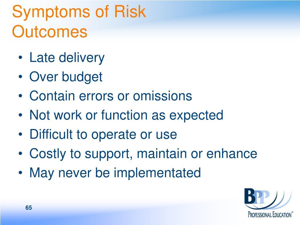 Symptoms of Risk Outcomes