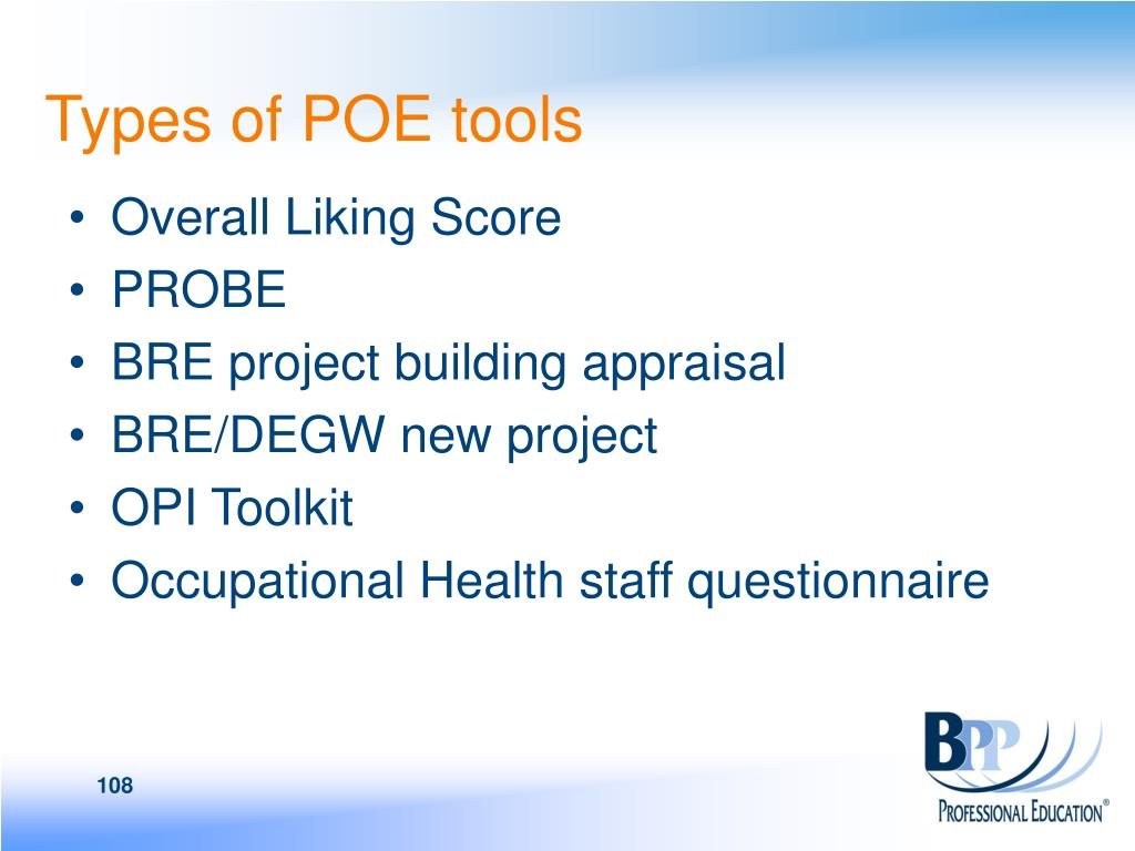 Types of POE tools