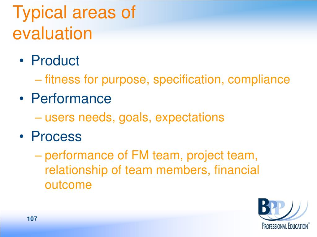 Typical areas of evaluation
