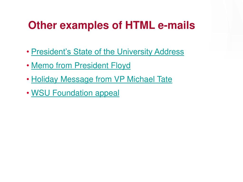 Other examples of HTML e-mails