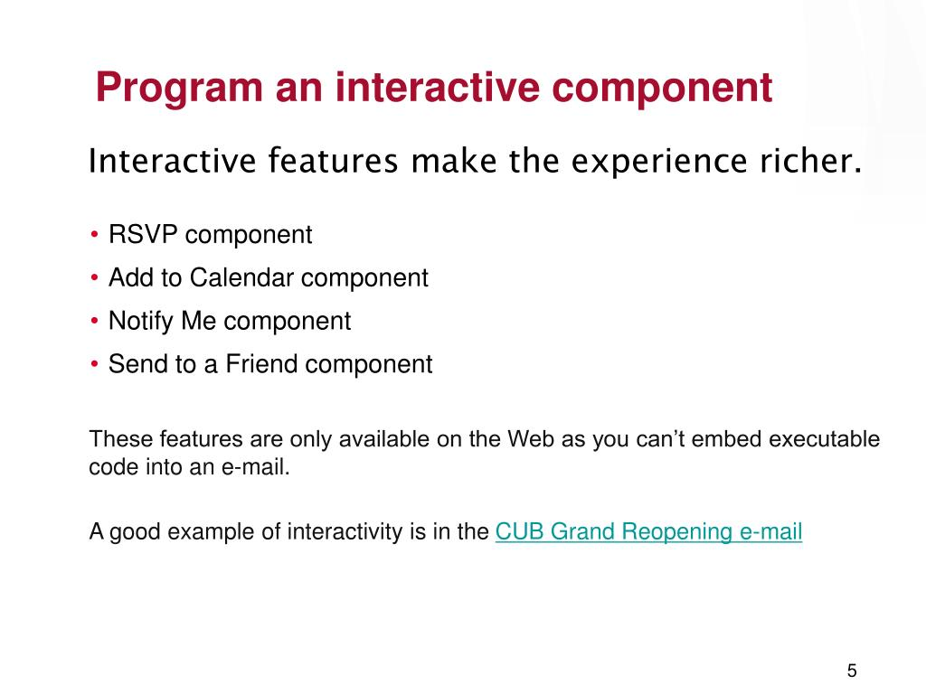 Program an interactive component