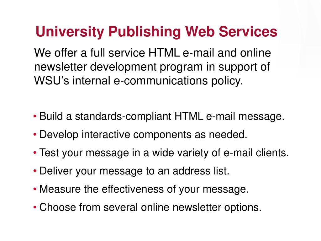 University Publishing Web Services