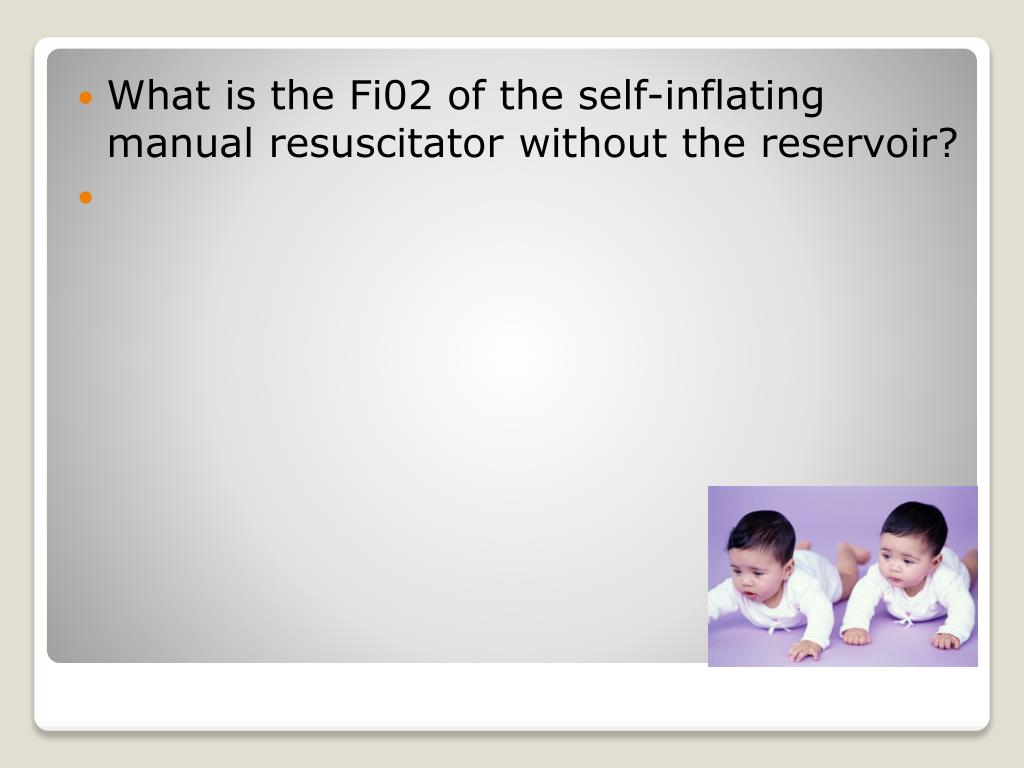 What is the Fi02 of the self-inflating manual resuscitator without the reservoir?