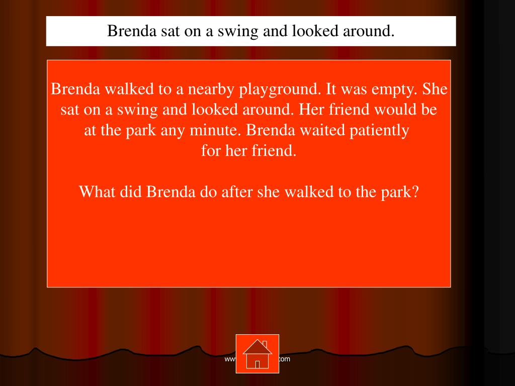 Brenda sat on a swing and looked around.