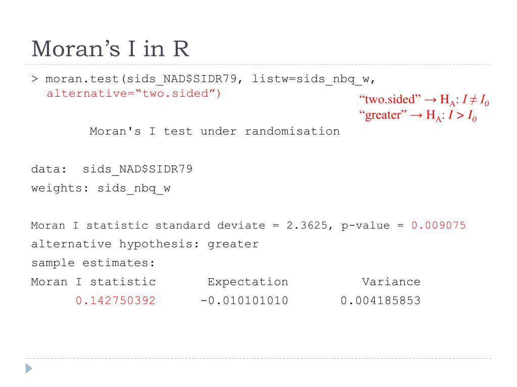 Moran's I in R