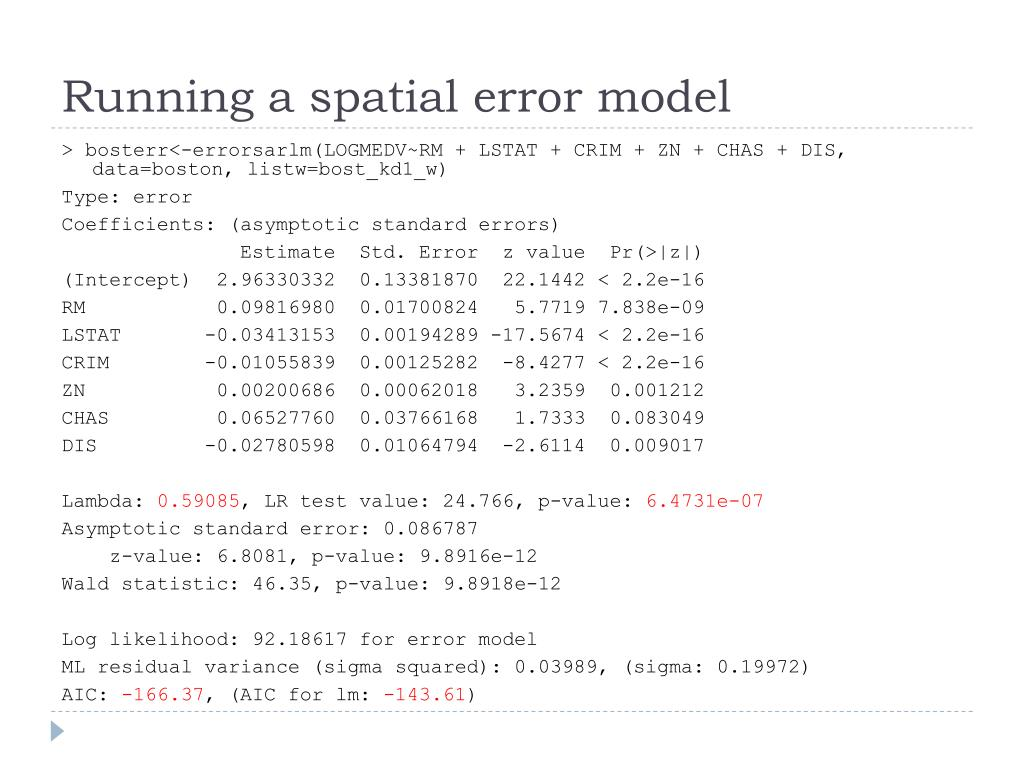 Running a spatial error model