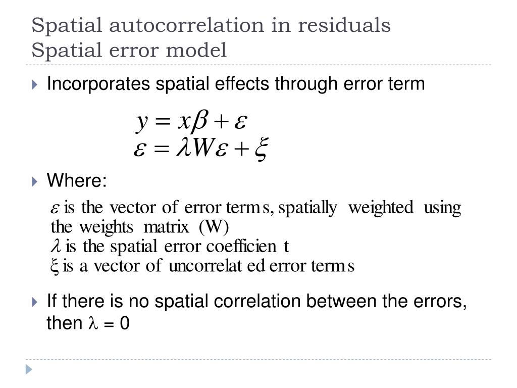 Spatial autocorrelation in residuals