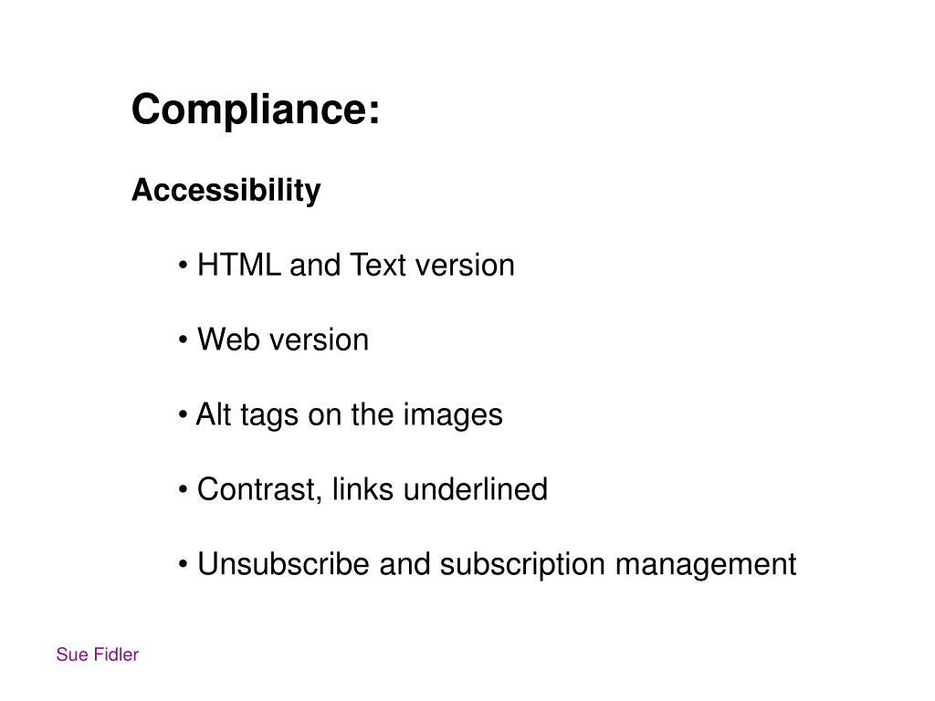 Compliance: