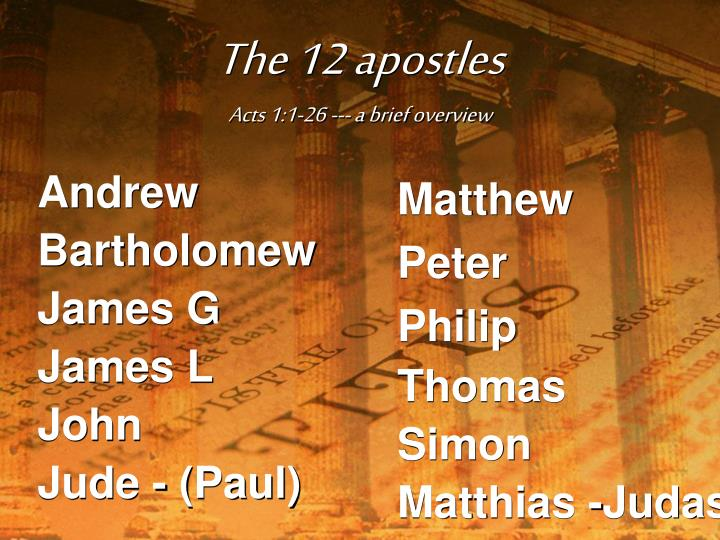 The 12 apostles acts 1 1 26 a brief overview