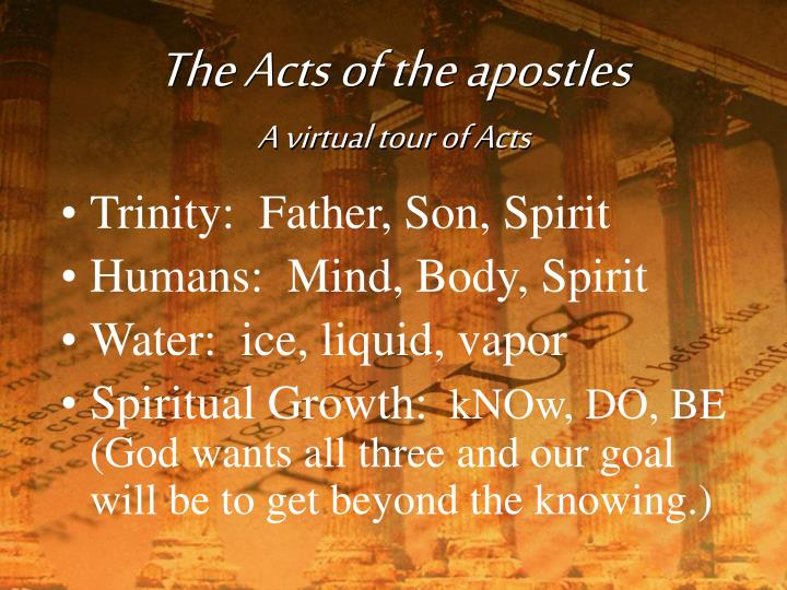 The acts of the apostles a virtual tour of acts
