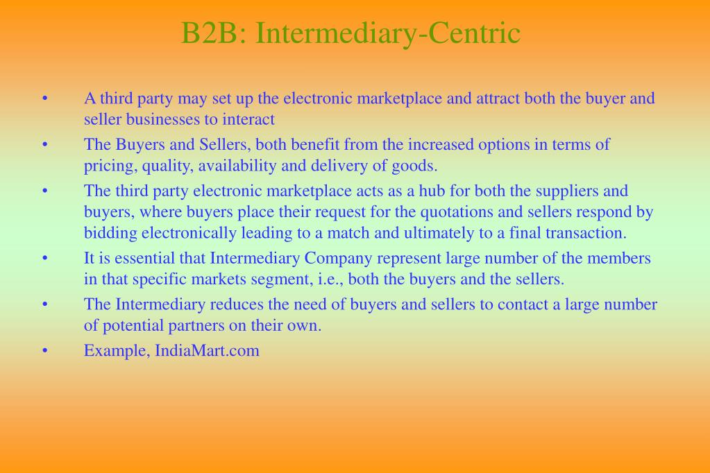 B2B: Intermediary-Centric