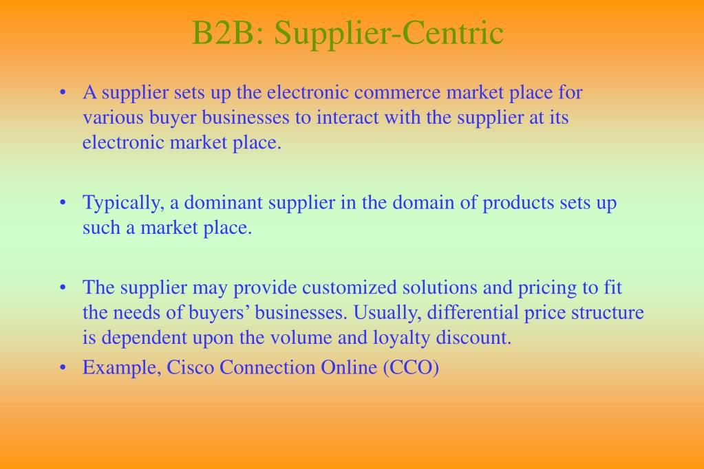 B2B: Supplier-Centric