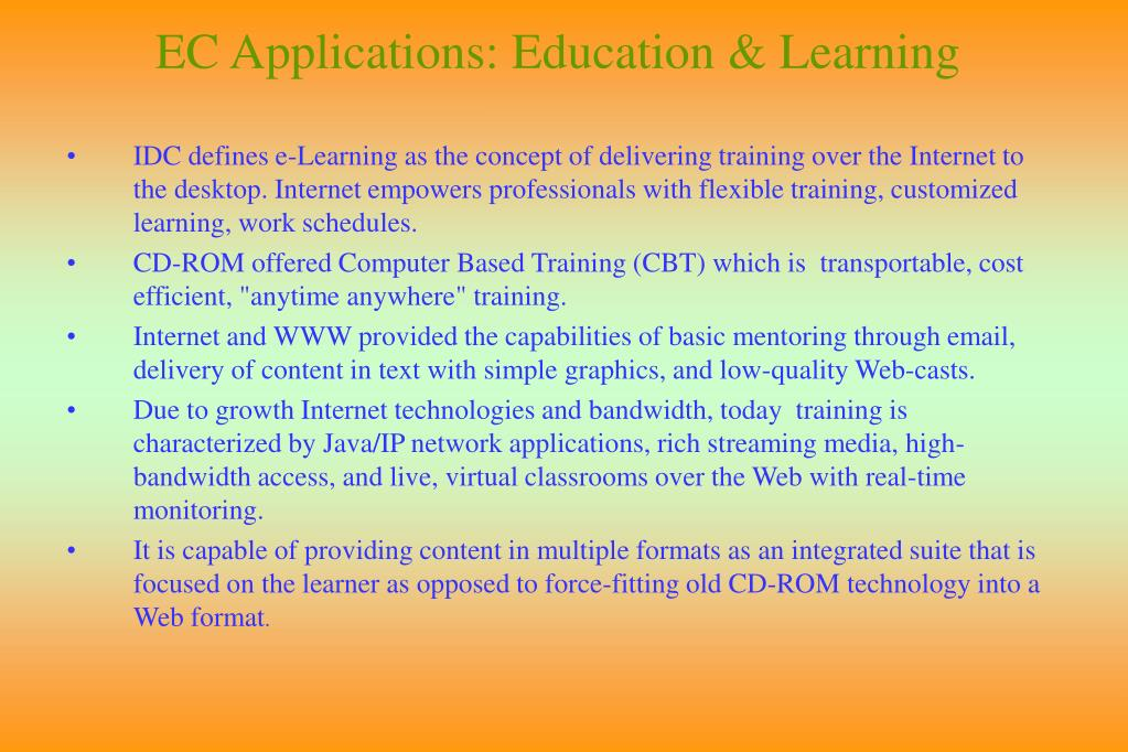 EC Applications: Education & Learning