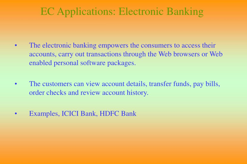 EC Applications: Electronic Banking