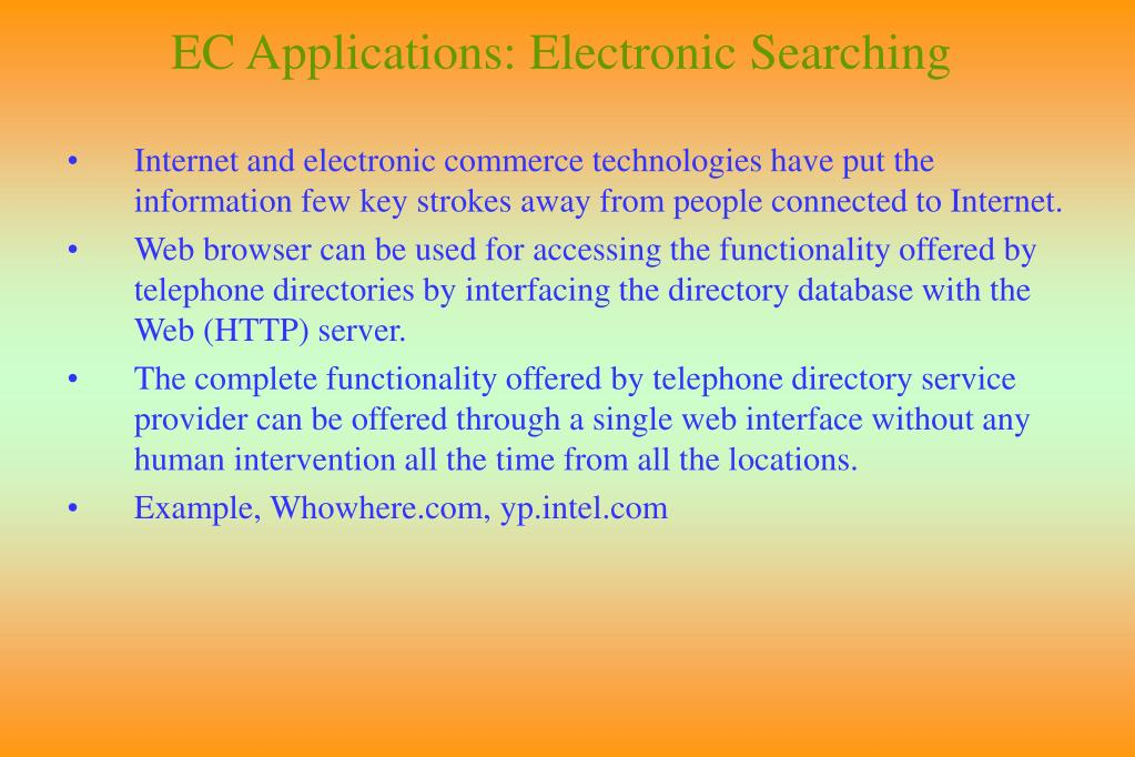 EC Applications: Electronic Searching