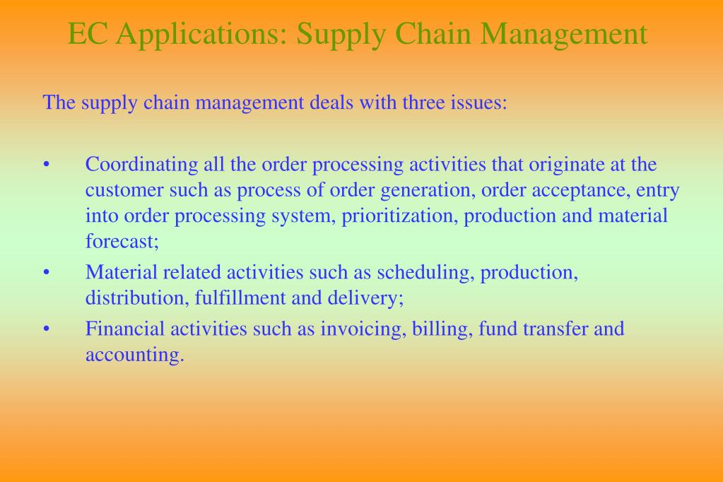 EC Applications: Supply Chain Management