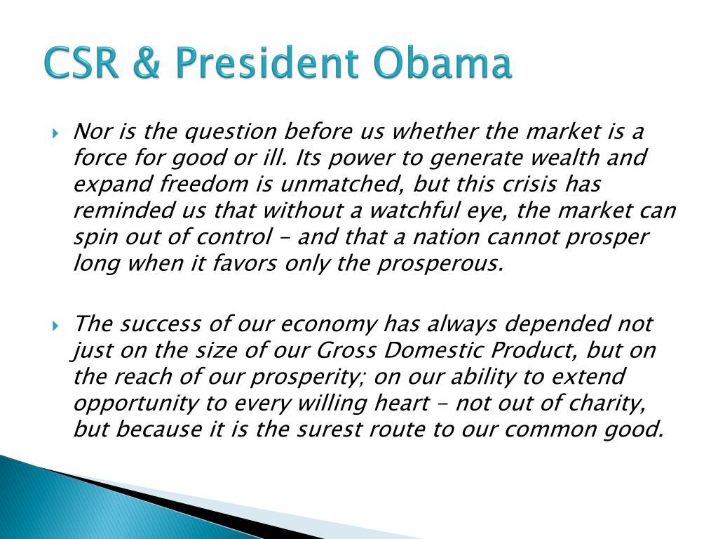CSR & President Obama