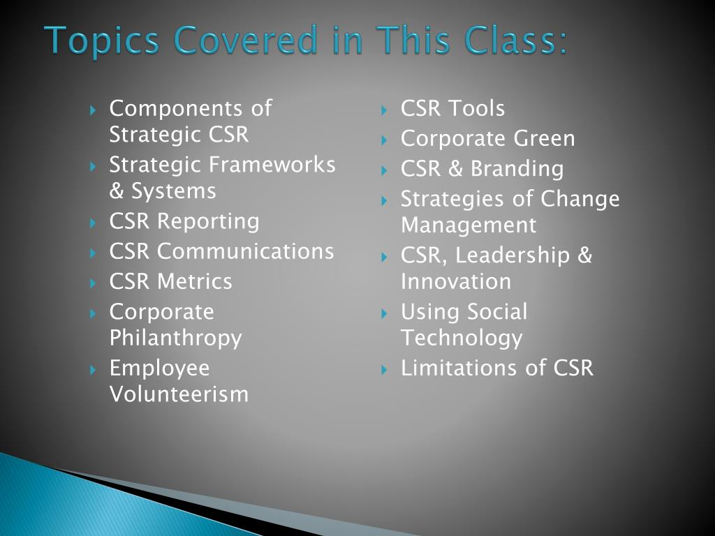 Components of Strategic CSR