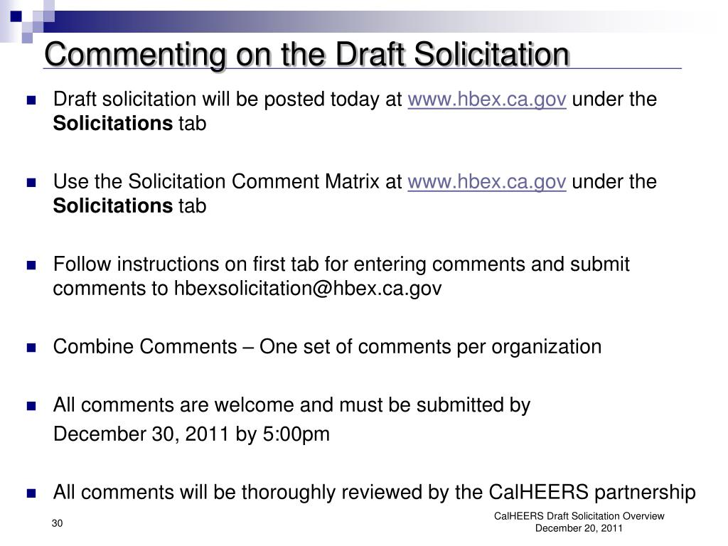 Commenting on the Draft Solicitation