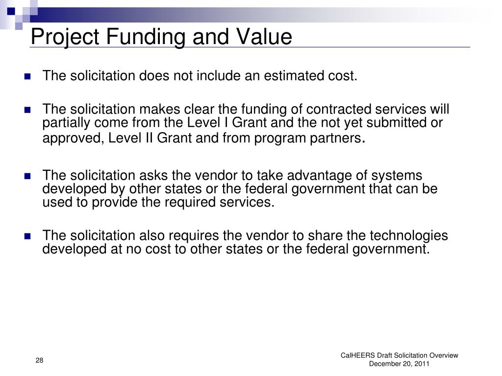 Project Funding and Value