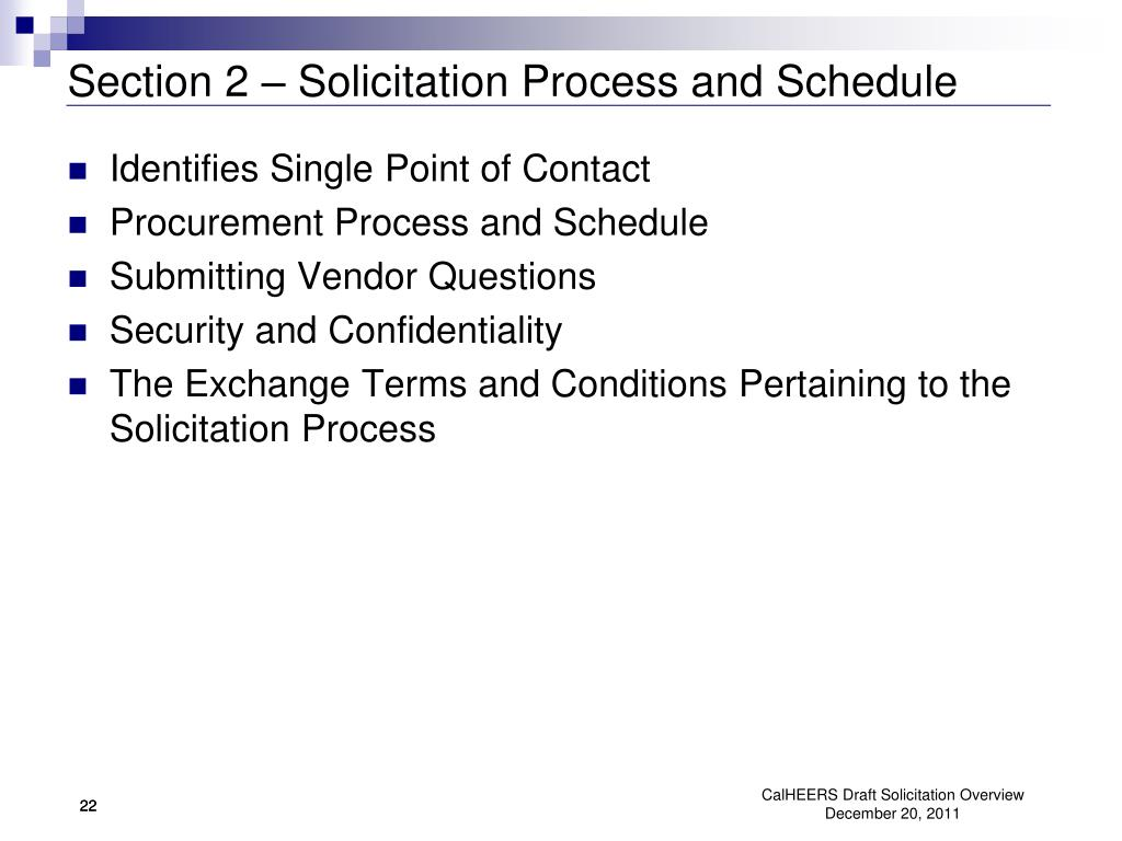 Section 2 – Solicitation Process and Schedule