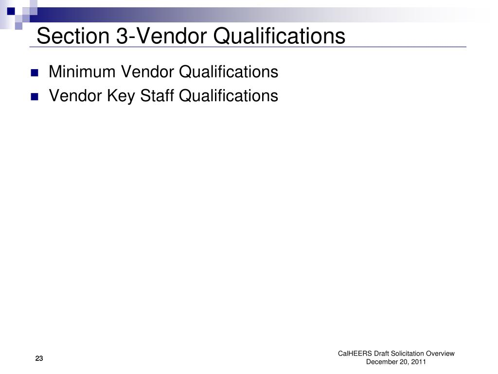 Section 3-Vendor Qualifications