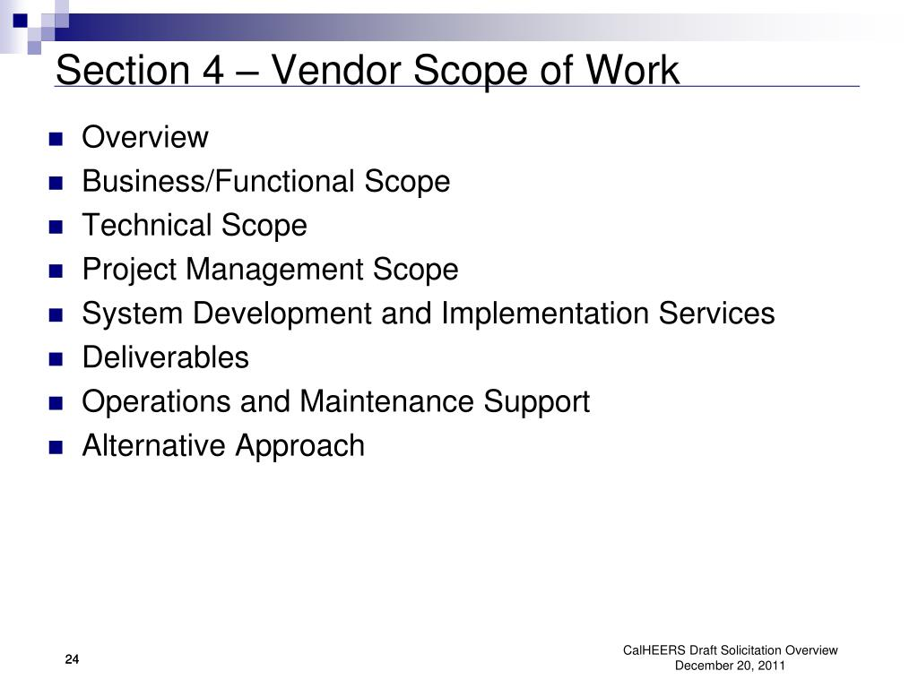 Section 4 – Vendor Scope of Work