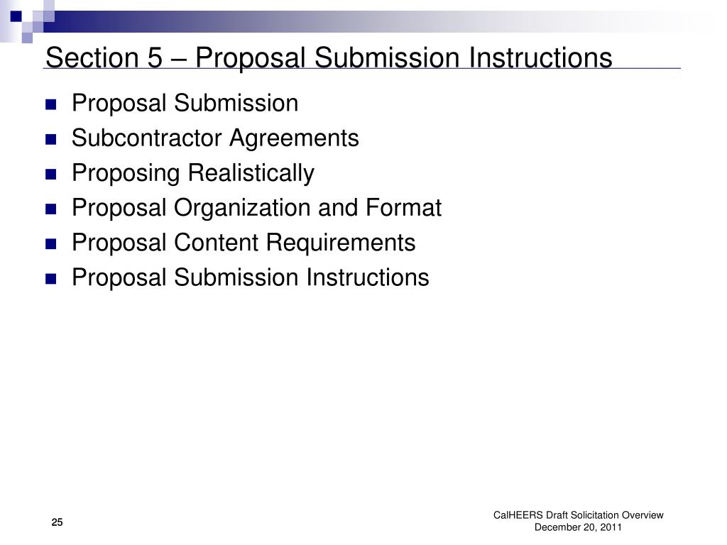 Section 5 – Proposal Submission Instructions