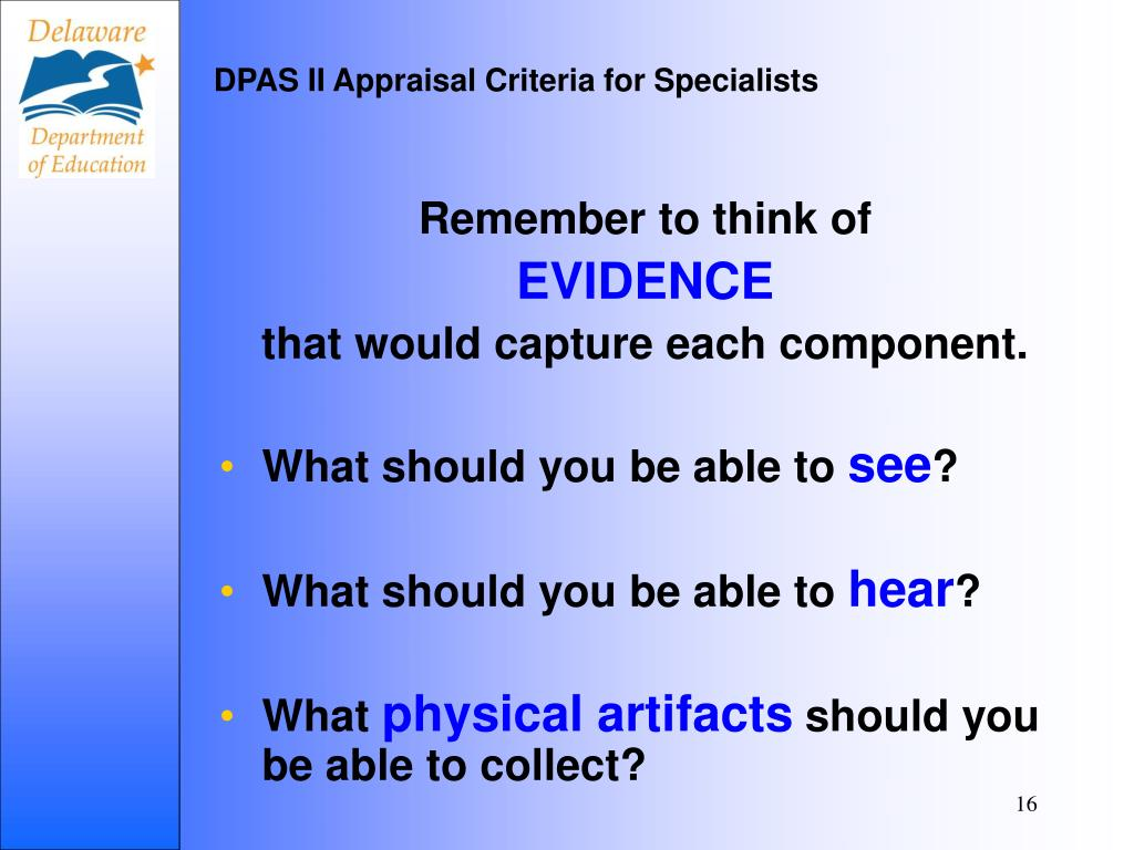 DPAS II Appraisal Criteria for Specialists