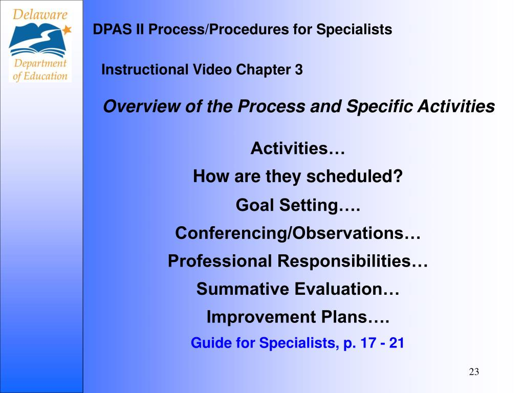 DPAS II Process/Procedures for Specialists