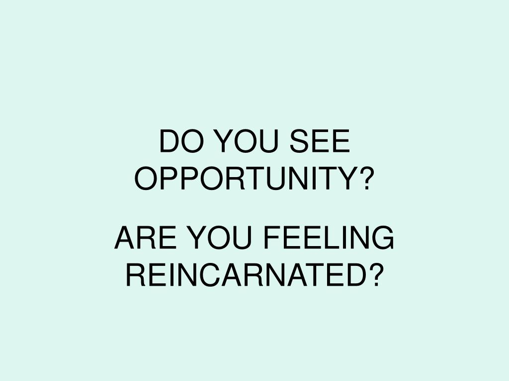 DO YOU SEE OPPORTUNITY?