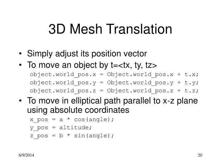 3D Mesh Translation