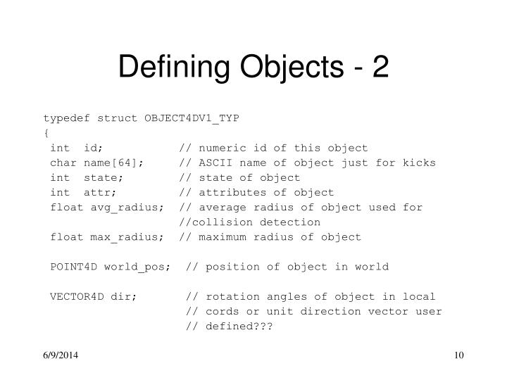 Defining Objects - 2