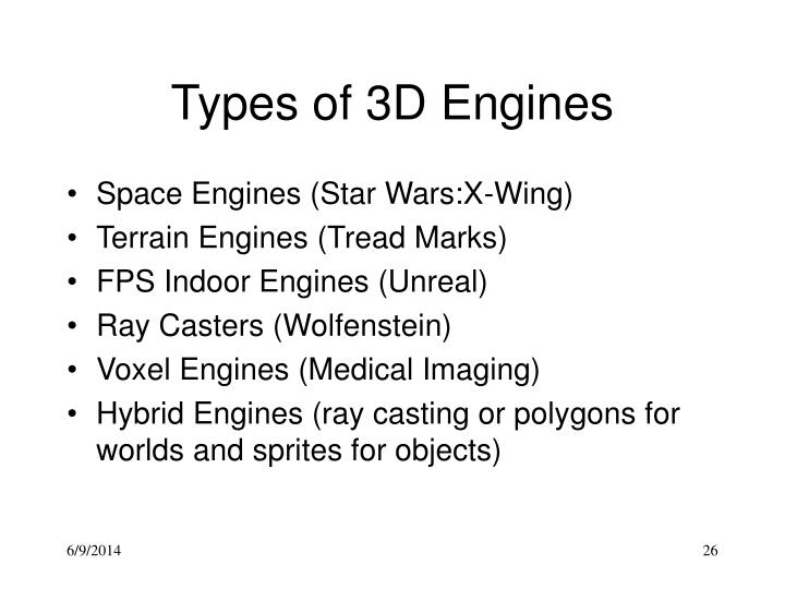 Types of 3D Engines